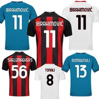 20 21 Ibrahimovic Soccer Jerseys Calhanoglu Saelmaekers Theo Tono Tonali Camicia da calcio Romagnoli AC Milan Fans Leder Version Kit