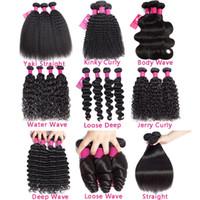 9a Brésilien Human Cheveux Bundles Sight Body Waet Wave Deep Wave Kinky Curly Loose vague 100% Brésilien Péruvien Péruvien Malaisien Cheveux Humains Tissu