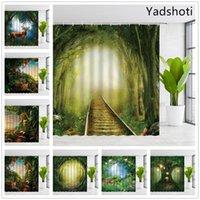 Yadshoti Poliban du paysage Rainforest Textile Tropical animaux Rêve Vue sur la forêt Salle de bains Set tissu rideau