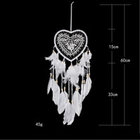 White Lace Dream Catcher Feathers Beads Handmade Circular He...