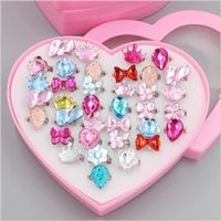 Mix Kids Rings Pack with Heart Shaped Box Cute Imitation Cry...