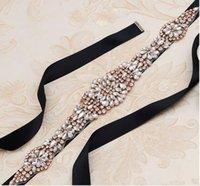 Heißer Verkauf Rose Gold Strass Hochzeitskleid Gürtel Brautgürtel Mode Hand-genähte Diamant Braut Gürtel Hochzeit Schärpen