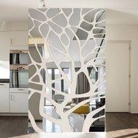 Çıkarılabilir 3D DIY Ayna Duvar Çıkartmaları Ağacı Yatak Odası Oturma Odası Dekorasyon TV Arka Plan Duvar Dekor Akrilik Çıkartmalar Ayna Yapıştır 201201