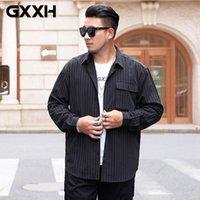 GXXH grande Maglietta autunno Maglietta a maniche lunghe Taglie Camicie allentati Uomini marchio coreano tendenza casuale camice di affari a strisce maschio