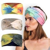 Nouveau style Hot Vente main Tie-Dye Tissu Croix bande Cheveux Accessoires Femmes Yoga Courir Sports Band cheveux