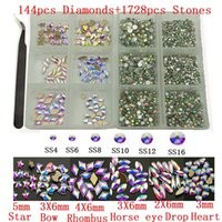 Nail Art Süslemeleri 144 adet Elmas Artı 1728 adet Flatback Kristaller Cam Ab Rhinestones Craft 3D Dekorasyon Charms Set
