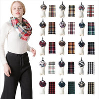Winter Scarf Women Cashmere Plaid Triangle Neck Scarves 18 S...