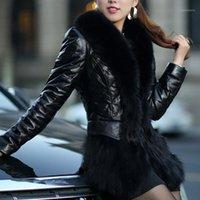 Femmes Pu en cuir manteau décontracté manches longues en fausse fourrure collier veste hiver manteau femme1
