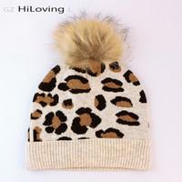 Hot Sale-2020Trendy 100% Real Fur Raccoon Pompom Winter Beanies Hats Leopard Hats Women European Wool Skull Cap In Women