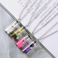 Colgante, collar de la botella de la joyería caliente de la manera S1849 flor seca de cristal colgante, collar de diapositivas