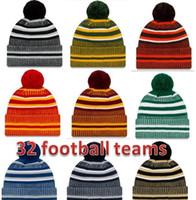 قبعة المصنع مباشرة جديد وصول هامش بيني القبعات الأمريكية كرة القدم 32 فرق الرياضة الشتاء خط جانبي متماسكة قبعات قبعة التريكو القبعات