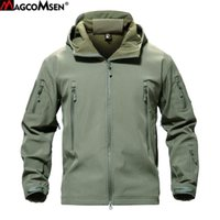 Magcomsen Shak Skin Giacca Militare Uomini Softshell Waterpoof Camo Vestiti Tactical Camouflage Army Hoody Giacca maschile inverno cappotto 201116