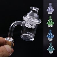 Cheapest 25 millimetri quarzo Banger unghie con Spinning Carb Cap e Glow In Dark Terp Pearl Donna Uomo 10 millimetri 14 millimetri 18 millimetri quarzo Nail per Dab Rig Bong