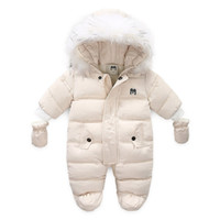 Children Winter Jumpsuit Fur Hood Baby Girl Boy Snowsuit Russian Winter Infant Outerwear Ovealls Baby Thick Rompers with Gloves LJ201023