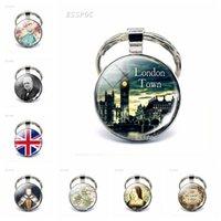Inglaterra Big Ben Keychain British London Souvenir Regalo Reino Unido Mapa de la bandera Elizabeth Churchill Glass Cabochon Llavero Anillos