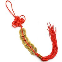 300pcs Good Fortune Red Chinese knot FENG SHUI Set Of 6 Lucky Charm Ancient I CHING Coins Prosperity Protection