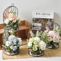 Flores decorativas grinaldas de ferro meia pássaro gaiola parede pendurado flor de flor artificial buquê ornamento decoração de casamento balcão casa d