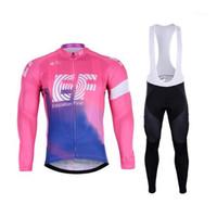 Conjuntos de carreras Spring Summer 2021 EF Educación First Pro Team Men's Cycling Jersey de manga larga Ropa de bicicleta con pantalones de babero Ropa Ciclis
