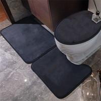 도매 패션 인쇄 변기 욕실 화장실 U 모양 매트 3pcs 세트 편안한 비 슬립 홈 도어 카펫