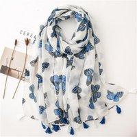 Bufandas de algodón y lino de las mujeres Bufanda de lino, patrón de mariposa, hilado de bali de bali con cálido Vacaciones de viaje delgada.