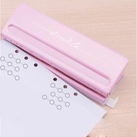 Metal 6 Hål Punch Rosa Craft Punch Paper Cutter Justerbar DIY A4 A5 A6 Loose-Leaf Paper Punch Scrapbooking Office Stationery T200107