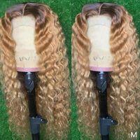 Índia 13x4 Rendas Front Human Human Wigs com Bebê Cabelo De Seda Top Ombre Luz Loira Laço Completo Peruca Remy Deep Wave 360 Wigs Headband