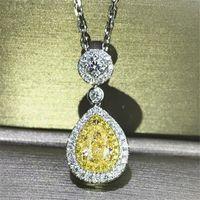 Súper oferta joyería de lujo 925 plata esterlina amarillo topaz cz diamante gota colgante colgante pera corte zircon mujeres clavícula collar regalo regalo