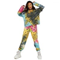 Hoodies Suit manga comprida Pullover Hoodies cintura elástica Calças Famale Dois Suit Vestuário Piece Mulheres Tie Dye