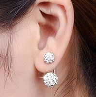 New Jewelry Crystal Disco Ball Stud Earrings Austrian Crystal 925 Sterling Silver Earrings for Wedding Party 8mm/10mm/12mm ps0058