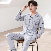 Set Eğlence Masculino Nightie Melifle Sonbahar Moda Tüm-Pamuk erkek Pijama Turn-down Yaka Gevşek Katı Uzun Kollu Pijama1