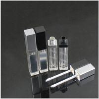 LED 라이트 미러 블랙 / 실버 뚜껑 튜브 / 스틱 튜브 / 속눈썹을 가진 8ml 사각형 모양 립글로스 튜브 / 스틱 튜브 / 속눈썹 포장