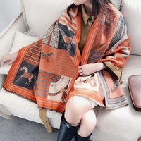 Foulards Koi sautant de style européen et américain dames chariot de mode modèle d'impression cachemire châle châle chaude foulard cadeau