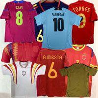Retro Clássico 1994 1996 2002 ESPANHA 2008 2010 2012 2018 Camisas de futebol Guardiola Torres David Villa Ramos A.iniesta Camisa de futebol retrô