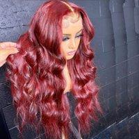 99J لون الجسم موجة الدانتيل الجبهة شعر الإنسان الباروكات الجزء الأوسط العذراء البرازيلي الإنسان الشعر 13x6 الرباط الباروكات الأحمر اللون الدانتيل الجبهة الباروكات