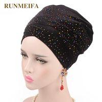 Berretto / cranio tappi design intarsiato strass musulmano skullies berretti cuscinetti solidi per le donne testa sciarpa africana avvolgimento cappello regali