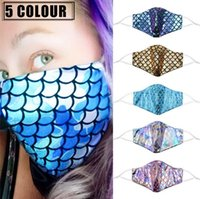 Colorful mermaid face mask with filter pocket sequin rainbow...