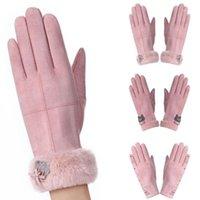 Cinque dita guanti vintage ricamo scamosciato ricamo touch screen testa calda inverno full daratore donna all'aperto antivento abbigliamento accessorio1