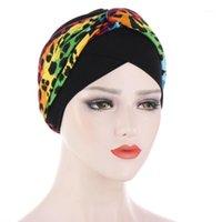 Bonnet / Capuchon de crâne 2021 Dot Flower Print Femme Femme Coton Soft Softon Capuchon femelle Capuchon intérieur Sous Écharpe Muslim Turban Gorros Headwra