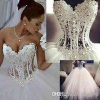 Luxe Bling Sweetheart Trouwjurken Corset Bodice Sheer Bridal Crystal Pearls Beads Rhinestones Tule Bruiloft Bruidsjurken