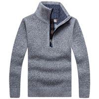 Мужские толстые теплые вязаные пуловеры осень сплошные с длинным рукавом.