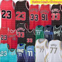 # 23 Scottie 33 بيبن جيرسي دينيس 91 رودمان جيرسي ريترو شبكة رجل كرة السلة الفانيلة 2021 لوكا 77 جيرسي دونكيك