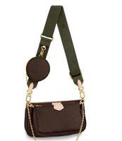 الأزياء الفاخرة حقيبة يد المرأة حقيبة جلد طبيعي مع رسائل متعددة ل إكسسوارات زهرة الحقيبة الفضلات مصمم فتاة حقائب الكتف 3 قطع محافظ
