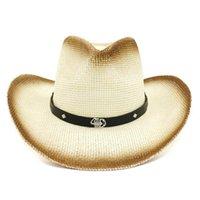 Kadınlar Erkekler için Kahverengi Boya Püskürtme Kağıdı Straw Cowboy Şapka Kemer Metal Akrep Süsleme Caz Panama Güneşlik Cap Plaj Sunhat