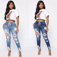 İlkbahar Sonbahar Casual Kadınlar Kot Pantolon Yüksek Bel Delik Jeans Bayan Tasarımcı Çizim Kalem Pantolon Güz