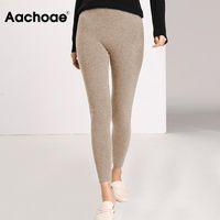 Aachoe Herbst Winter Frauen Leggings 2020 Massive Casual Slim Hose Hose Hohe Taille Sportwear Damen Knöchellänge Leggings