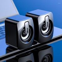 1,6 м USB Компьютерные колонки 3.5 мм Интерфейс проводной двойной трубы динамики 360 градусов стереоусаживают тяжелый бас настольный SUBWOOFER1
