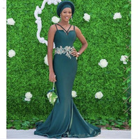 Hunter Green Robes de demoiselle d'honneur Mermaid Sangles Spaghetti 2021 Robe d'invité de mariage Zip Back APPLIQUÉ MODEST MODEST HONE ROBE V11