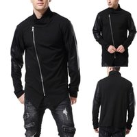 Nouveaux hommes Coat Mode Collier Solide Coller Slim Fit Cuir Cuir Sweat Hochet Cuat Patchwork Veste Manteau
