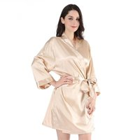 Champagne Bride Bridesmaid Wedding Robe Kimono Bathrobe Gown...
