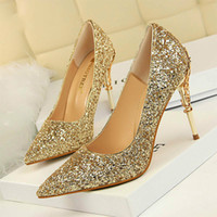 Hot Sale 2020 New Spring Women Pumps High Thin Heels Pointed Toe Metal Decoration Sexy Bling Bridal Wedding Women Shoes Gold High Heels